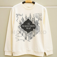 S M L -- The Marauder's Map Shirts Harry Potter Map TShirts Potter Sweatshirt Jumpers Long Sleeve Sweater Unisex Tee Women Shirts Men Shirts