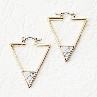 Faux Marble Triangle Earrings