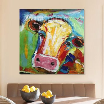 Cow painting On Canvas Cow art canvas cow decor Farm animal painting Original oil painting,Cows,impasto,heavy texture,palette knife,Wall Art