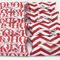 Ho Ho Ho Pillow Boxes, Set of 8, Red and White, Holiday Gift Box, Christmas Pillow Box