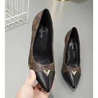 LOUIS VUITTON LV Women Fashion Leather Heels Shoes