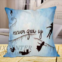 Disney Beautiful  Peter Pan Quote  on Square Pillow Cover