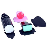 BTArtbox Double Ended Stamper and Plastic Scraper Nail Art Image Stamping Plate Manicure Tool Kit Set
