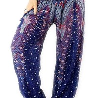 Magic Blue Peacock Harem Pants