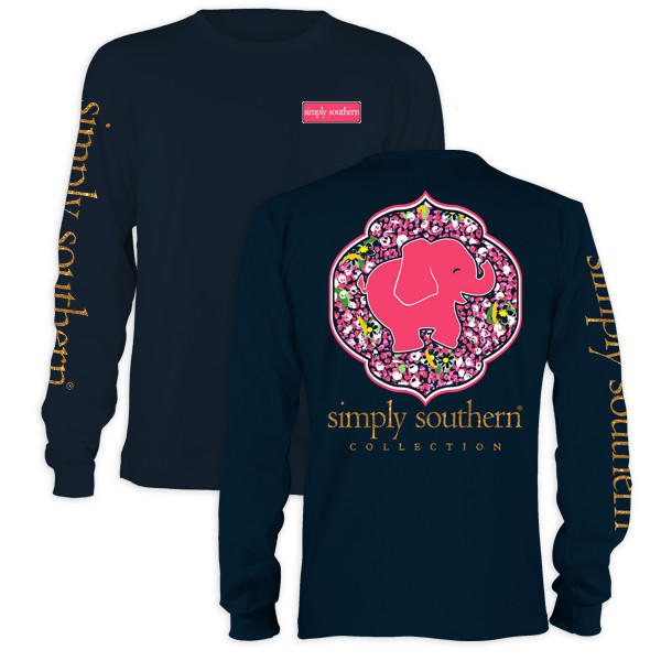 Image of Simply Southern Youth Preppy Elephant Daisy Navy Long Sleeve T-Shirt