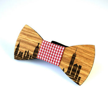 New York City Skyline Wooden Bowtie Blue Red Cell Fabric Personalized Wedding Groomsmen Groom Men Father Day Best Gift for Him