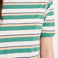 BDG Washed Stripe Skinny Tee in Green - Urban Outfitters