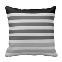 Gradient Gray Stripe Throw Pillow