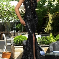 Black Sequined Lace Cut-out Split Front Sleeveless Mermaid Dress