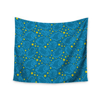 "Yenty Jap ""Starry And Cloudy Night"" Blue Yellow Wall Tapestry"