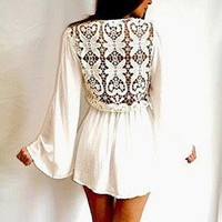 BNWT ASOS REVERSE SUPER CUTE WHITE LONG SLEEVE MINI DRESS *SIZE SMALL (8)*