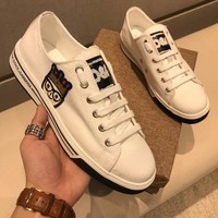 Dolce & Gabbana D & G Canvas Sneakers With Patches Of The Designers Cs15875268i716 - Best Online Sale