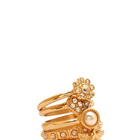 FOREVER 21 Posh Faux Pearl Ring Set Gold/Clear 6