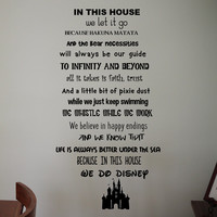 Disney Wall Quote Lion King Tinkerbell Ariel Castle  Removable Wall Decal Vinyl