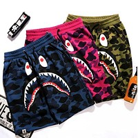 BAPE SHARK Popular Women Men Summer Leisure Shark Mouth Print Camouflage Shorts Pants(3-Color) I