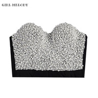 Sexy Waist Shaper Corsets With Pearl Bustiers Top And Corsets Cropped Vest Beaded Studded Waist Trainer Corselet