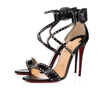 Cl Christian Louboutin Choca Spikes Black/nikel Leather Sandals 3170560m914 - Best Online Sale