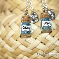 OHANA Earrings, Disney Lilo and Stitch  Family Magic with  Flower Charms by Life is the Bubbles