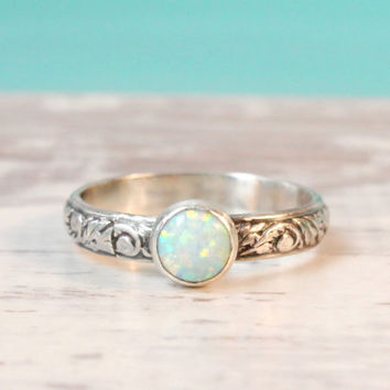 Opal ring, sterling silver floral band with a 6 mm lab opal, engagement promise or wedding ring, October birthstone birthday gift for her