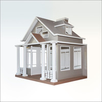 Dog House - A cute cottage for a pooch looking for comfort. Craftsman-inspired, big windows, white picket fence included.