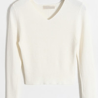 White V Neck Long Sleeve Cropped Sweater