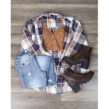 Button Up Plaid Flannel Shirt - Beige