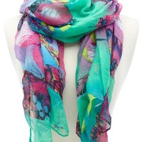 Colorful Butterfly Print Scarf