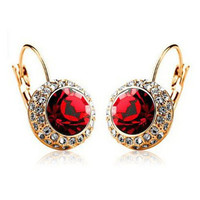 Vintage Fashion Hoop Earrings brinco New Jewelry Unique Round Small Crystal Gold Plated Hoop Earrings For Women Wedding 12Colors
