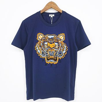 Onewel Kenzo Embroidery Tiger Yellow Women Men Shirt Navy blue Top