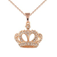 Fashion Crown Pendant Necklace
