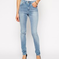 ASOS Ridley High Waist Ultra Skinny Jeans in Real Light Wash Blue with
