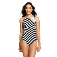 Women's Stripe High Neck Pieced One Piece Swimsuit - Cleanwater