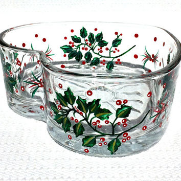 Hand Painted Christmas Heart Bowl With Holly, Christmas Decor, Holiday Decor, Christmas Bowl, Christmas Gift, Christmas Candy Dish