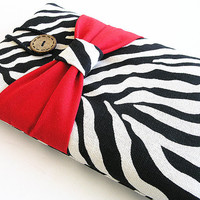 Zebra Kindle Sleeve, Kindle fire sleeve cover, nook cover, Google nexus 7 case-Red Bow.
