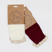 Boot Socks with Lace and Pearl Trim