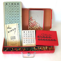 20% OFF SALE vintage Official Bingo game with cards, wooden markers and numbers