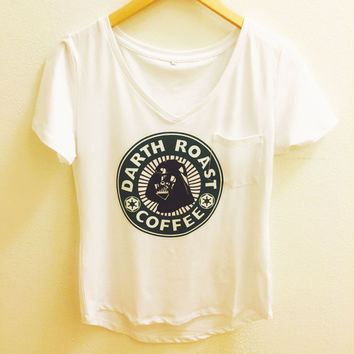 Darth Roast Coffee - Darth Vader Star Wars Pocket Tee Shirt White V Neck Loose Fit Boyfriend T Top Women - Disney Tumblr S, M, L, XL