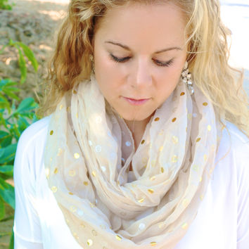 Pop & Fizzle Gold Polka Dot Scarf in Tan