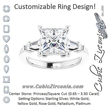 Cubic Zirconia Engagement Ring- The Belem (Customizable 5-stone Baguette+Round-Accented Princess/Square Cut Design))