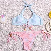 Blue and Pink Lace Up Halter Printed Bikini