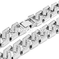 14K White Gold Plated Glitter SandBlasted Curb Hex 18mm Cuban Chain
