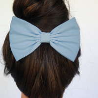 Hair Bow Clip - Light Blue