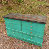 Distressed Turquoise Dresser / Turquoise Media Console / Turquoise Mid Century Dresser / Turquoise Buffet / Changing Table