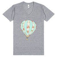 Floral Hot Air Balloon-Unisex Athletic Grey T-Shirt