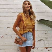 Comfortable Stylish Beach Summer Hot Bralette Shirt Sexy Lace Hollow Out Ladies Tops Vest [224323960847]