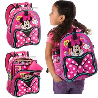 Licensed cool Minnie Mouse Backpack Book Bag Tote Pink Polka Dot Disney Store 2016 JUNIOR SIZE