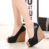 Korean Women Shoes Fish Mouth Color-splicing Wedge Platform Sandals