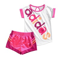 adidas Pop Tee & Stripe Mesh Shorts Set - Baby