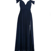 Cold Shoulder Wrap Maxi Prom Dress in Navy - Choies.com
