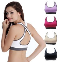 Women Yoga Athletic Sports Bras Crop Tops Seamless Racerback Padded Vest Gym Fitness
